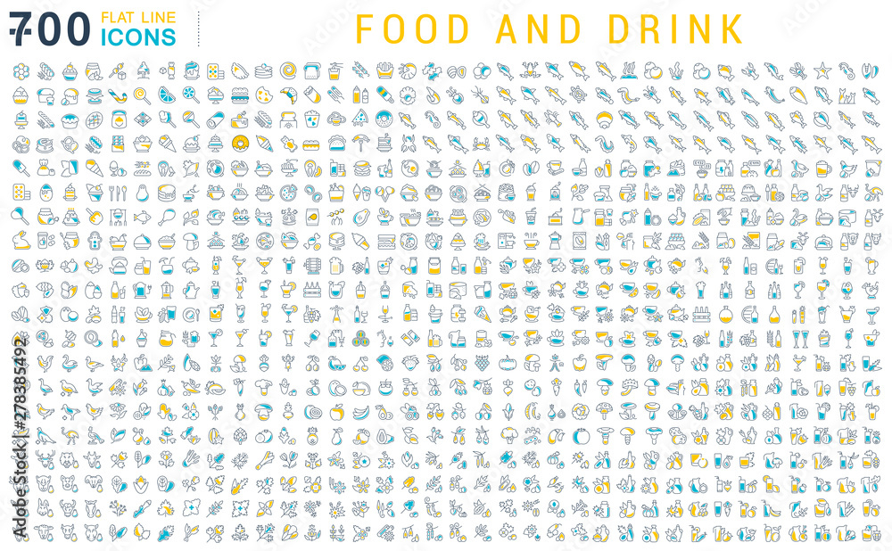 Fototapety, obrazy: Set Vector Line Icons of Food and Drink