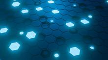 Hexagon Pattern. Honeycomb Texture. Abstract Blue Background. 3d Render.