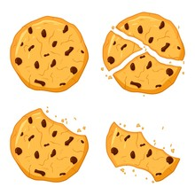 Chocolate Chips Cookies Isolated On White Background. Bitten, Broken, Cookie Crumbs. Sweet Food Cookies Icon. Biscuit, Small Baked, Crisp Pastry With Crush Fragments. Vector Illustration