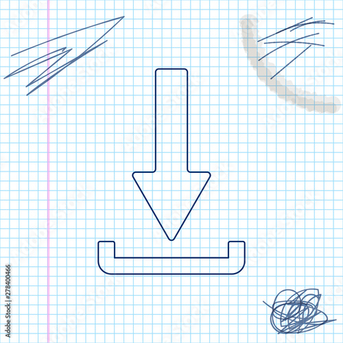 Download line sketch icon isolated on white background