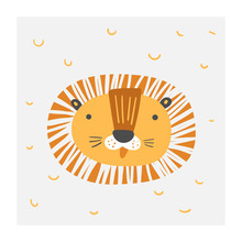 Baby Shower Doodle Lion Cute Poster For Kids. Card, Postcard, Print, Picture With African Animal