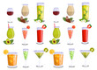 Different types of cocktail drinks, alcoholic drink vector set