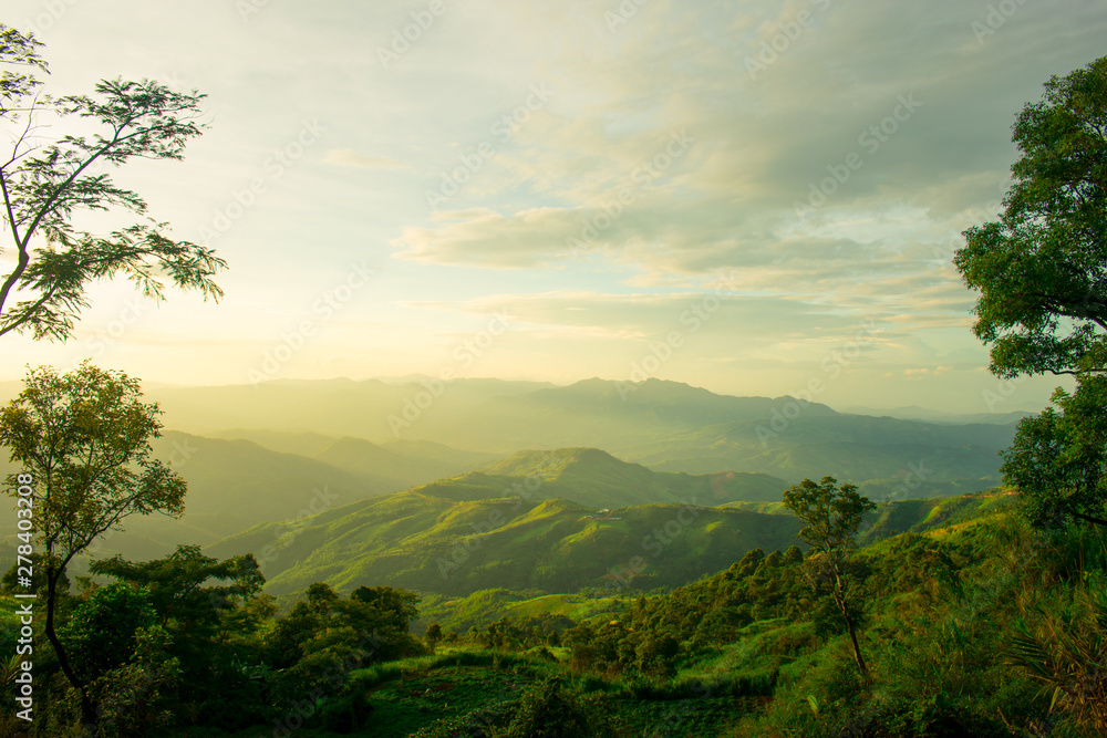 Fototapety, obrazy: The longitudinal mountains and the setting sun and the forest on Doi Tung
