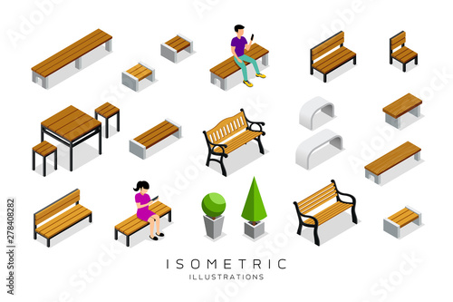 Foto Vector isometric wooden bench collection with man and woman background, illustra