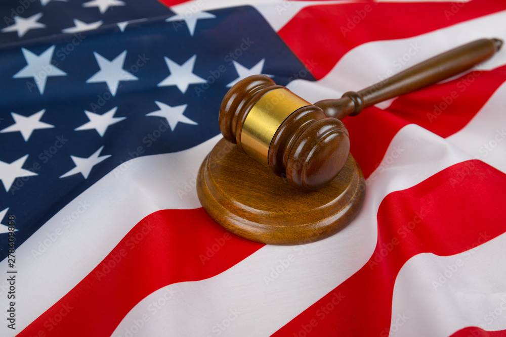 Fototapety, obrazy: Judge gavel on the background of the flag united states of America. symbol for jurisdiction. US