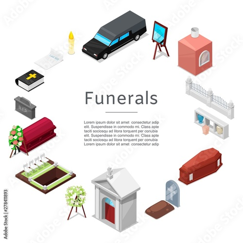 Fotografia Funeral vector icon set in isometric style for posters
