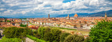 Panorama of Florence. Saint Mary of the Flower in Florence and medieval stone bridge Ponte Vecchio over Arno river in Florence, Tuscany, Italy. Florence cityscape. Florence architecture and landmark.
