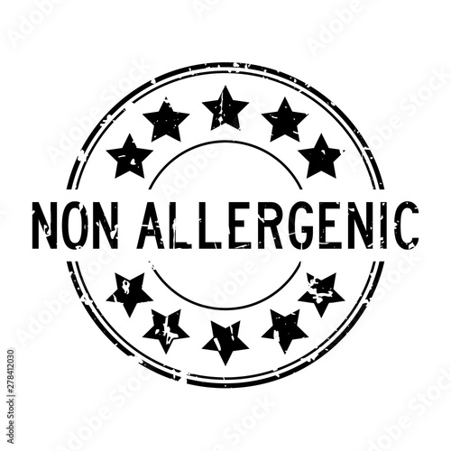 Photo Grunge black non allergenic word with star icon round rubber seal stamp on white