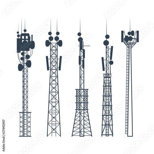 Transmission cellular towers, satellite communication antenna silhouette, of radio signal tower Fotomurales