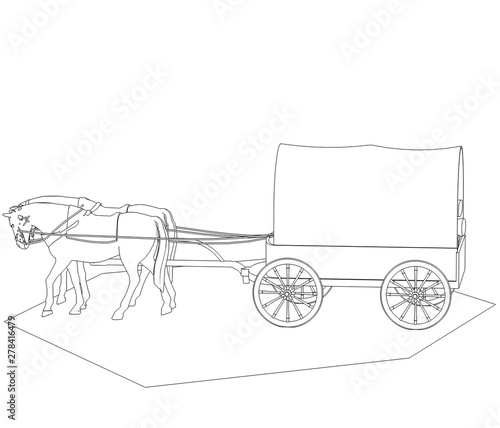 Photo wagon colonists, horse wagon, 3D illustration, sketch, outline