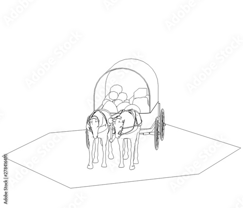 wagon colonists, horse wagon, 3D illustration, sketch, outline Wallpaper Mural