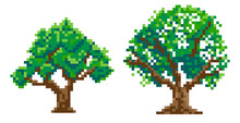 Set Of 2 Pixel Trees, Pixel Art. Vector