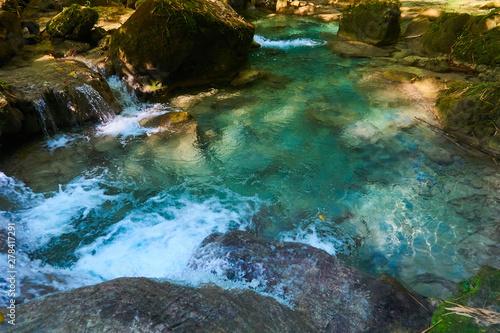 Staande foto Rivier Beautiful Jungle Landscaspes and blue pools of Warter at Reach Falls Jamaica