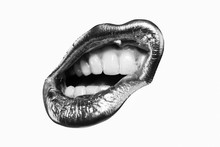 Lip Icon. Golden Lipstick In White And Black Concept. Sexy Woman. Passion Lip. Open Mouth With White Teeth. Isolated On White Background.