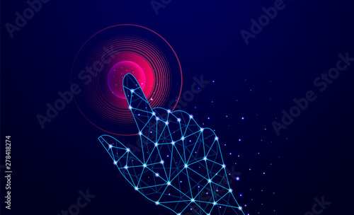 Abstract Blue Geometric Background Touch To Electronic