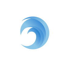 Blue Wave Logo Vector. Wave In Circle Shape