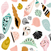 Seamless Pattern With Colorful Creative Seashells. Creative Marine Texture. Great For Fabric, Textile Vector Illustration
