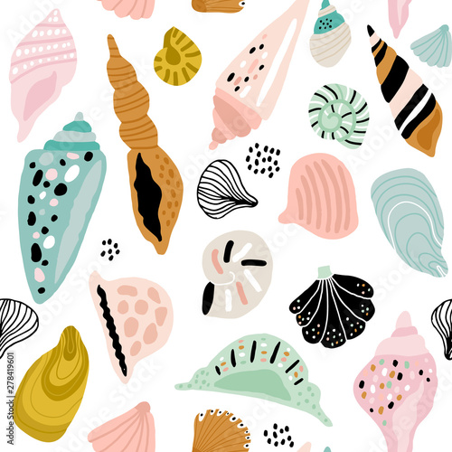 Canvas-taulu Seamless pattern with colorful creative seashells