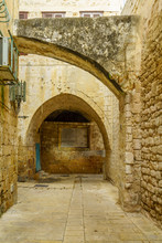 Alley With Historic Tablet, In The Old City Of Acre