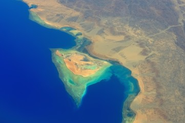 Egypt Hurghada Red sea shore aerial view