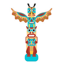 Cartoon Color Traditional Religious Totem Pole. Vector