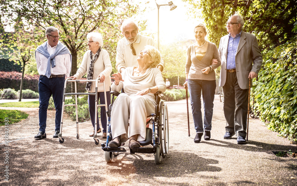 Fototapety, obrazy: Group of old people walking outdoor