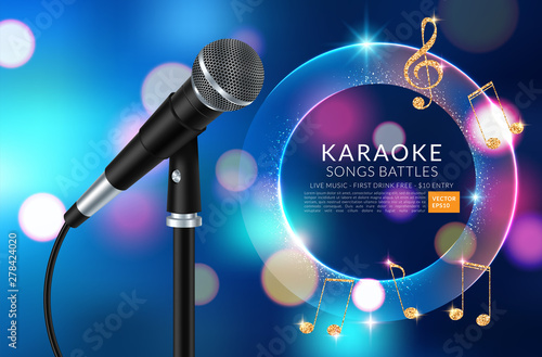 Vector banner with microphone and inscription karaoke party on the art background. Vector illustration - 278424020