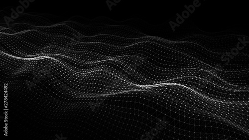 Wave of particles. Abstract background with a dynamic wave. Big data visualization. 3d rendering.