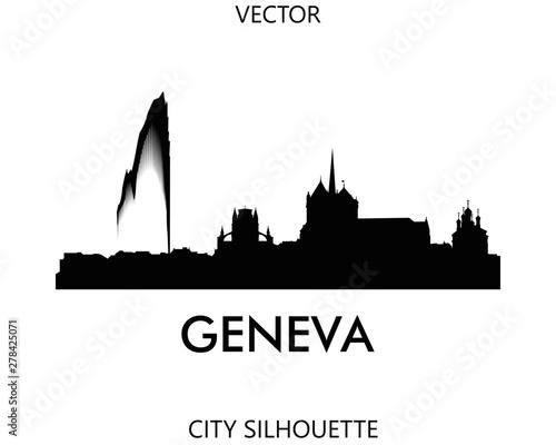 Carta da parati Geneva skyline silhouette vector of famous places