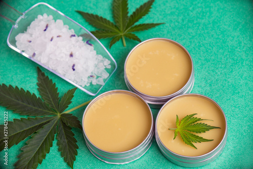 Canvas Prints Personal Cannabis wellness products with bath bomb, soaking salts and marijuana salve
