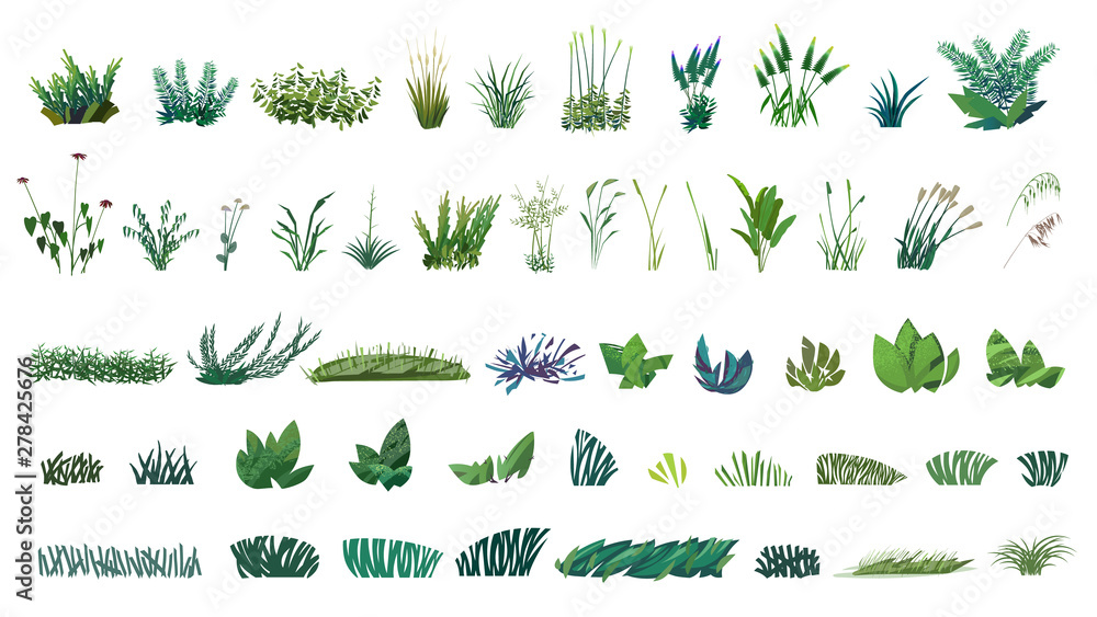 Fototapety, obrazy: huge collection of stylized isolated green plants for your illustrations
