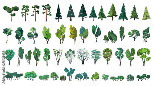 Fotomural huge collection of stylized isolated green plants for your illustrations
