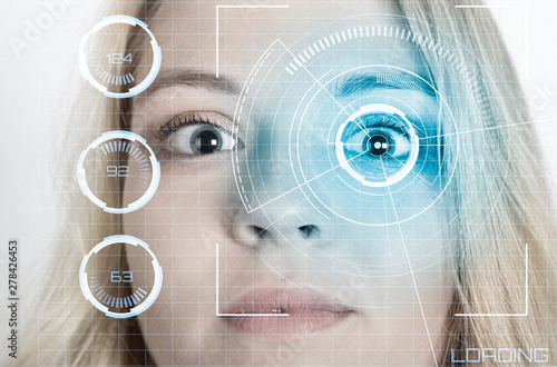 Poster Iris Biometric verification. The concept of a new technology of face recognition.