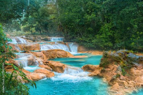 Obraz na plátně  Cascadas de Agua Azul waterfalls. Agua Azul. Yucatan. Mexico