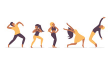 Set Group Of Young Happy Dancing People Together Male And Female Dancers Isolated On White Background. Smiling Young Men And Women Enjoying Dance Party. Flat Vector Illustration Style.
