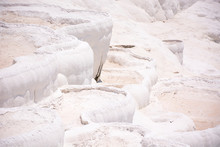 Pamukkale Travertine Pools And Terraces Carbonate Mineral At Ancient Hierapolis, Turkey