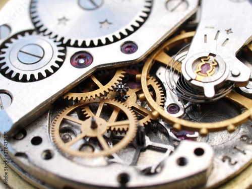 Fototapeta close up macro pic of vintage watch mechanism gears obraz