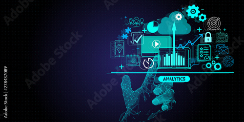 Cuadros en Lienzo Low polygon hand touching Business data analytics process management with KPI financial charts and graph and automated marketing dashboard