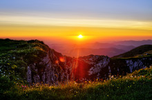 Sunrise At The Summit Of The Tscher In Lower Austria