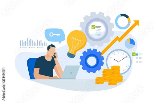 Fototapeta Flat design concept of consulting, key account manager, business plan. Vector illustration for website banner, marketing material, business presentation, online advertising. obraz