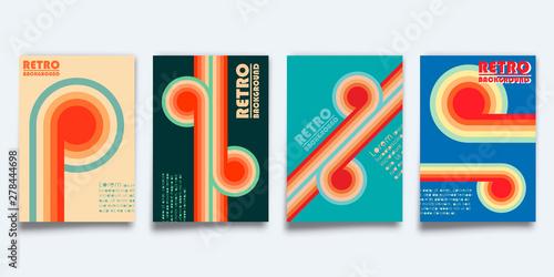Photo Set of retro design cover template for flyer, vintage poster, brochure, typograp