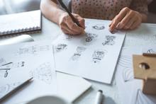 Animator Designer Draws Sketch...