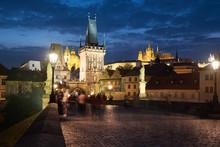 Prague, Charles Bridge At Night