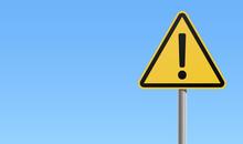 Yellow Black Sign Exclamation Mark Warning Icon Blue Background