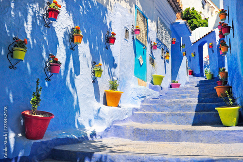 Deurstickers Typical beautiful moroccan architecture in Chefchaouen blue city medina in Morocco with blue walls