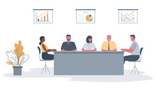 Office Workers During The Meeting. Employees Are Sitting At The Table In The Office. There Is Also A Flower, And Diagrams On The Wall In The Image. Conference Hall. Funky Flat Style. Vector