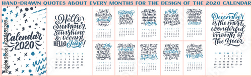 December 2020 Modern Typography Calendar Modern typography lettering compositions. 2020 calendar with funny