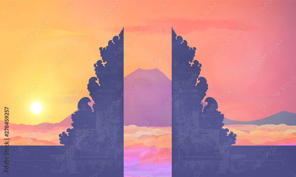 Fototapeta Colorful sunset view to mountain Agung from Balinese temple Pura Lempuyang, vector illustration of Bali island traveling