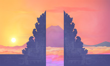 Colorful Sunset View To Mountain Agung From Balinese Temple Pura Lempuyang, Vector Illustration Of Bali Island Traveling