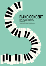 Piano Concert And Music Festival Poster Modern Vintage Retro Style